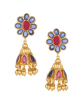 Blue Pink Gold Plated Silver Jhumki Earrings