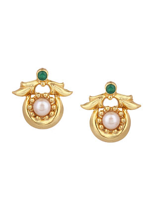 Green Gold Plated Silver Earrings with Mother of Pearl