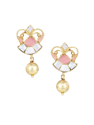 Pink Gold Plated Silver Earrings with Mother of Pearl