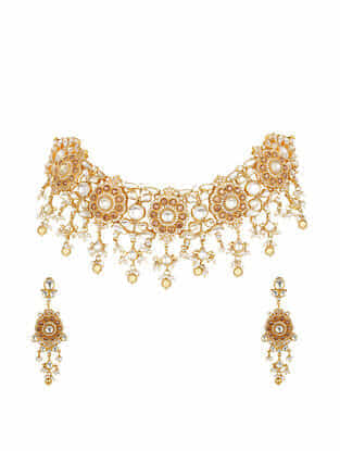 Gold Plated Bellore Polki and Kundan Silver Necklace with Earrings