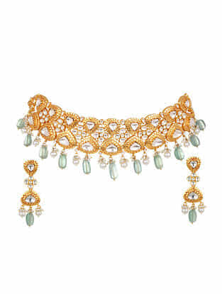 Green Gold Plated Bellore Polki Silver Necklace with Earrings