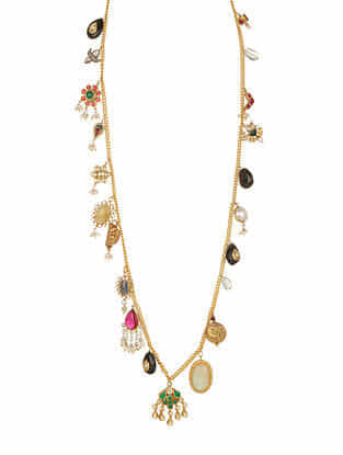 Multicolored Gold Plated Silver Necklace