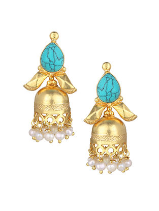 Turquoise Gold Plated Silver Jhumki Earrings with Pearls