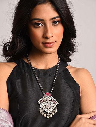 Pink Tribal Silver Kundan Necklace