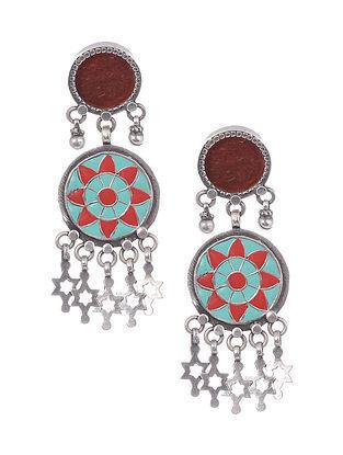 Red Enameled Tribal Silver Earrings