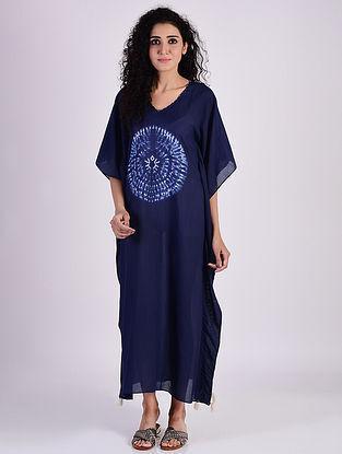 Indigo Blue Shibori Cotton Kaftan with Tassels and Beads Detailing