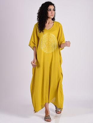 Mustard Yellow Shibori Cotton Kaftan with Tassels and Beads Detailing