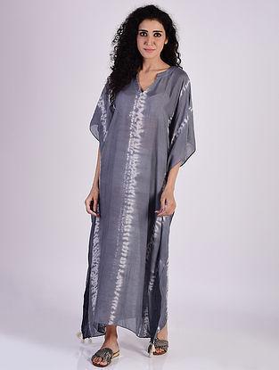 Grey Shibori Cotton Kaftan with Tassels and Beads Detailing