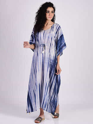 Indigo Blue Sequins Cotton Kaftan with Tassels and Beads Detailing