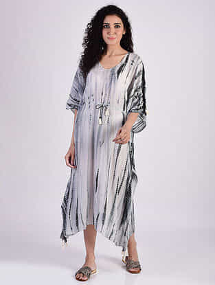 Grey Sequins Cotton Kaftan with Tassels and Beads Detailing