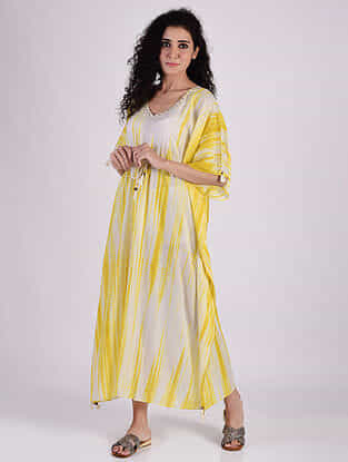 Mustard Yellow Sequins Cotton Kaftan with Tassels and Beads Detailing