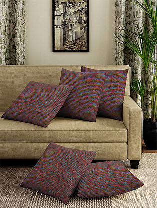 Multicolor Handmade Cotton Cushion Covers (Set of 5) (16in x 16in)