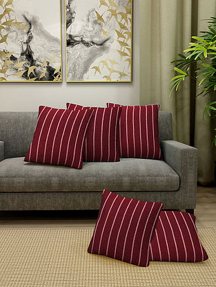 Maroon Handmade Cotton Cushion Covers (Set of 5) (16in x 16in)