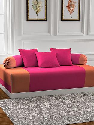 Pink Handmade Cotton Diwan Set (Set of 6)