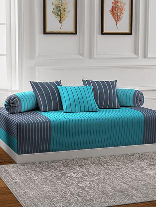 Sky Blue Handmade Cotton Diwan Set (Set of 6)