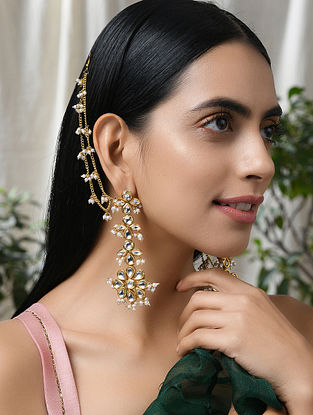 Gold Tone Kundan Earrings With Ear Chains And Pearls