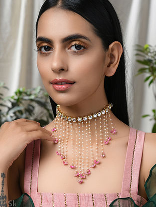 Pink Gold Tone Kundan Beaded Necklace With Quartz