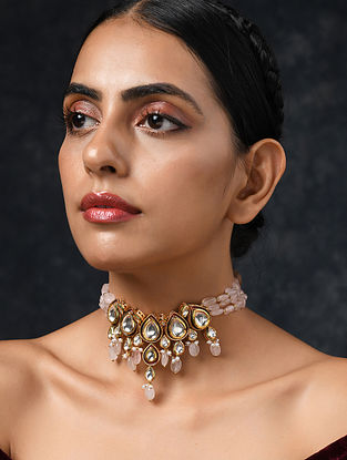 Pink Gold Tone Kundan Necklace With Quartz And Pearls