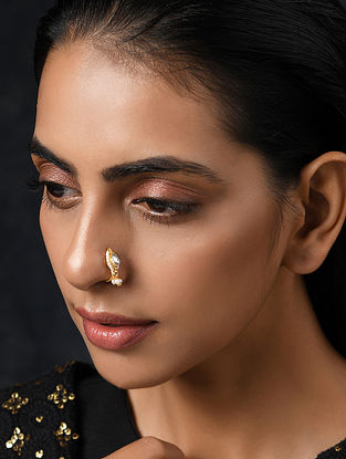 Gold Tone Kundan Nose Pin With Pearls