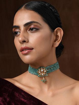 Turquoise Gold Tone Kundan Beaded Choker Necklace With Onyx