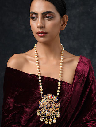 Blue Gold Tone Jadau Necklace With Pearls