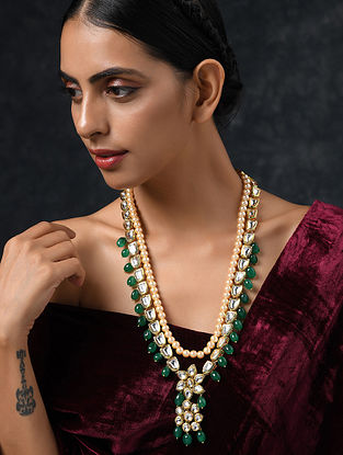 Green Gold Tone Kundan Necklace With Jade