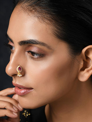 Red Gold Tone Nose Pin With Pearls