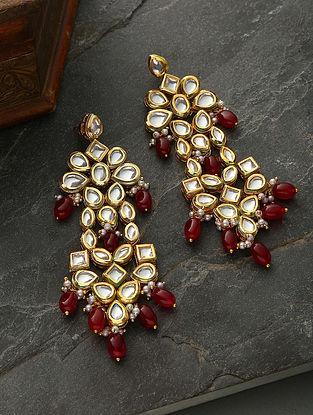 Red Gold Tone Kundan Earrings With Garnet