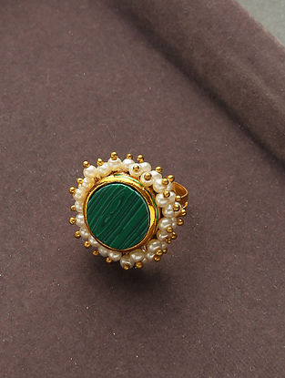 Green Gold Tone Handcrafted Ring With Pearls
