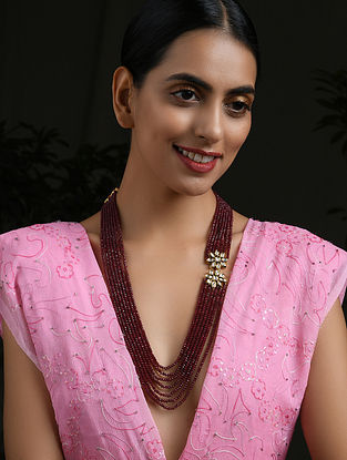 Red Gold Tone Kundan Beaded Layered Necklace With Garnet