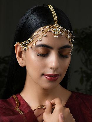 Gold Tone Kundan Maangtikka With Pearls