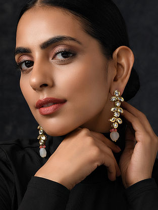 Pink Gold Tone Kundan Earrings With Agate And Onyx