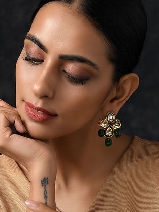 Green Gold Tone Kundan Earrings With Jade