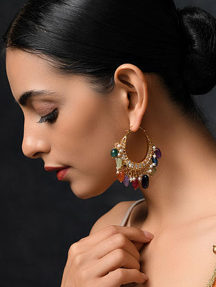 Multicolored Gold Tone Kundan Hoop Earrings With Pearls