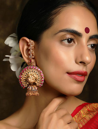Red Gold Plated Temple Work Jhumki Earrings