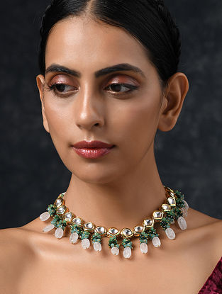 Green Pink Gold Tone Kundan Necklace With Quartz And Jade