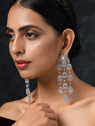 White Silver Tone Handcrafted Earrings With Zirconia