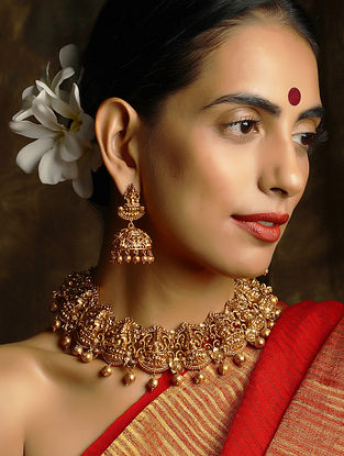 Gold Plated Temple Work Necklace With Earrings