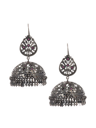 Classic Silver Patra Work Jhumki Earrings