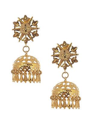 Gold Tone Silver Patra Work Jhumki Earrings