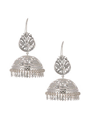 Classic Silver Patra Work Jhumki Earrings