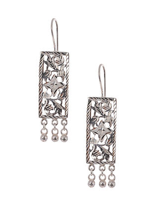 Classic Silver Patra Work Earrings