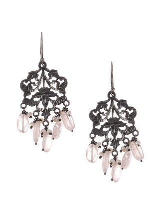 Classic Silver Patra Work Earrings with Pearls