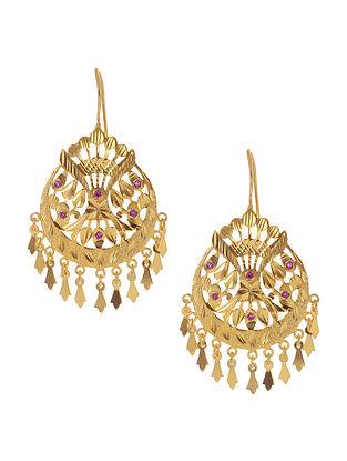 Gold Tone Silver Patra Work Earrings