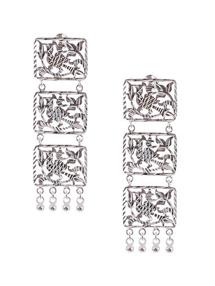 Classic Silver Patra Work Earrings
