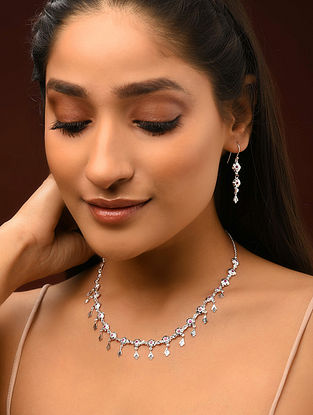 Classic Silver Patra Work Necklace and Earrings