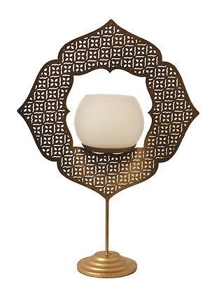 Lucky Four Clover Antique Gold Handcrafted Iron Table T-light Holder with White Frost Glass (L - 8.8in, W - 3.6in, H - 12.5in)