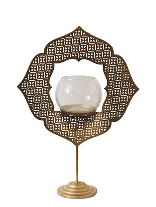 Lucky Four Clover Antique Gold Handcrafted Iron Table T-light Holder with Clear Glass (L - 8.8in, W - 3.6in, H - 12.5in)