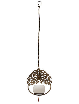 Kalpataru Antique Gold Handcrafted Iron Hanging T-light Holder with White Frost Glass (L - 7in, W - 2.7in, H - 8.2in)