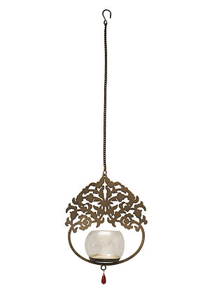 Kalpataru Antique Gold Handcrafted Iron Hanging T-light Holder with Clear Glass (L - 7in, W - 2.7in, H - 8.2in)
